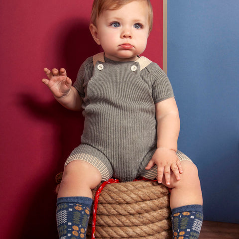 Knitted Cotton Rhesi Shorts With Suspenders - Aspen/Oatmeal - 12m-4y