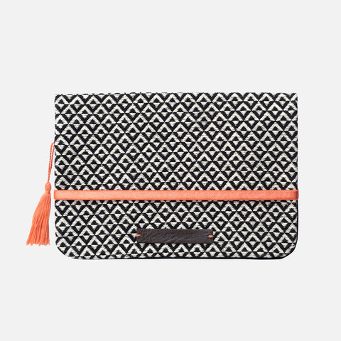 Cotton Nappy Clutch - Street Market - Black/Off White Pattern
