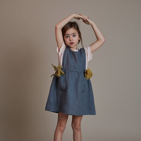 Linen Nora Pinafore Dress - Storm Blue
