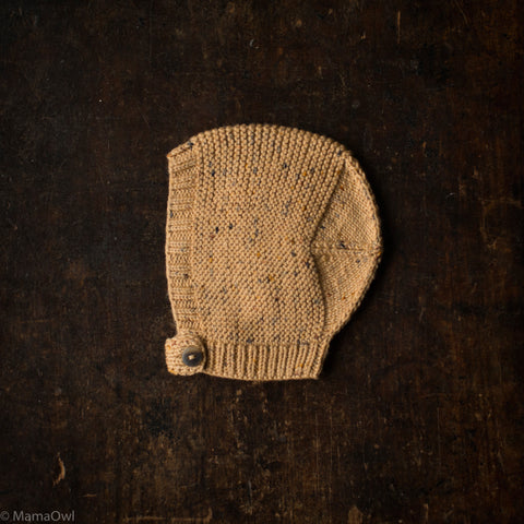 Exclusive Hand-Knit Merino Beach Walk Bonnet - Camel Confetti - 0m-4y