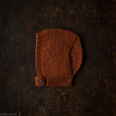 Exclusive Hand-Knit Merino Beach Walk Bonnet - Terracotta - 0m-4y