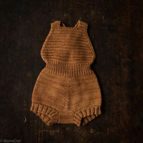 Exclusive Hand-Knit Merino Sugar Maple Playsuit - Rose Gold - 0m-4y