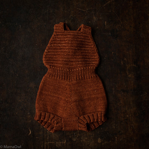 Exclusive Hand-Knit Merino Sugar Maple Playsuit - Terracotta - 0m-4y