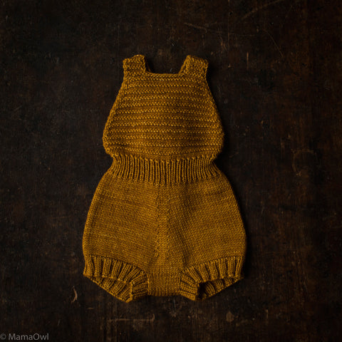 Exclusive Hand-Knit Merino Sugar Maple Playsuit - Spun Gold - 0m-4y