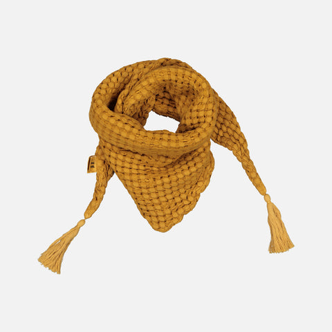 Cotton Honeycomb Misha Scarf with Pompons - Mustard