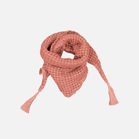 Cotton Honeycomb Misha Scarf with Pompons - Terracotta