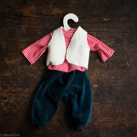 Organic Cotton Dolls Trousers/Waistcoat/Shirt - Red Stripe/White/Blue