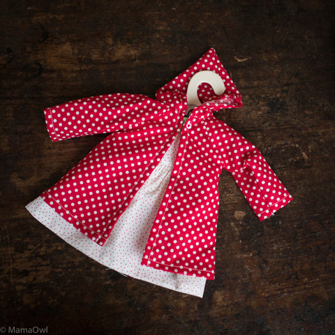 Organic Cotton Dolls Dress and Coat - Red/White Polka Dots
