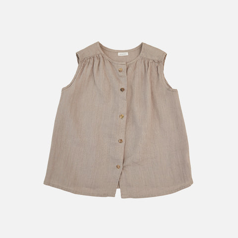 Linen Lima Top - Light Gray