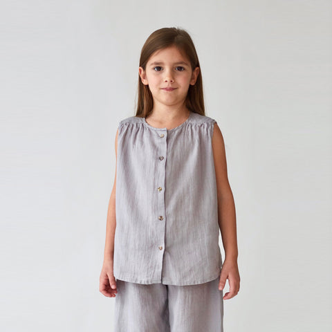 Linen Lima Top - Light Gray - 2-10y