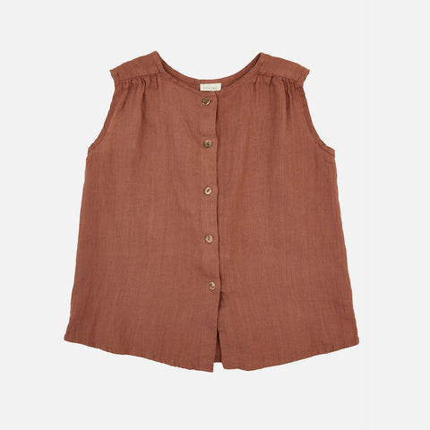 Linen Lima Top - Teracotta - 2-10y