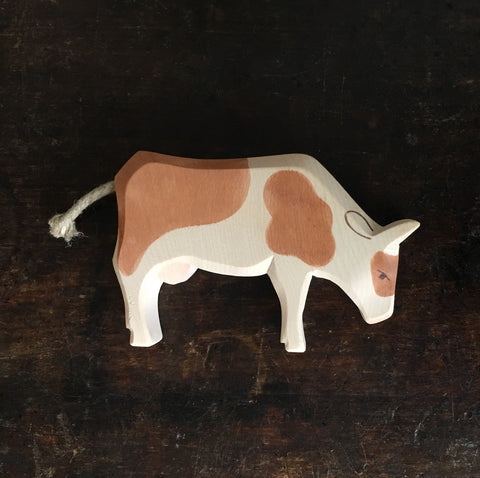 Handcrafted Brown & White Eating Cow