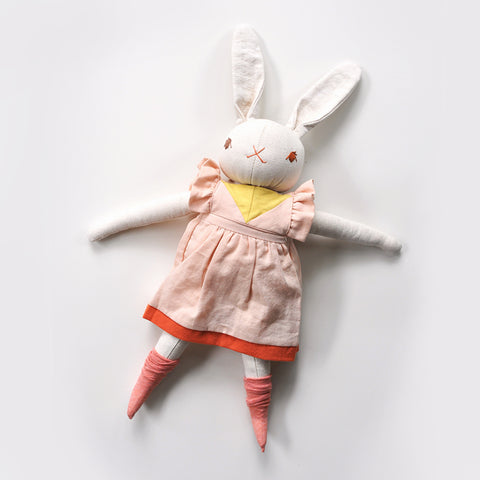 PDC Large Rabbit - Addy - Cream With Pink Patchwork