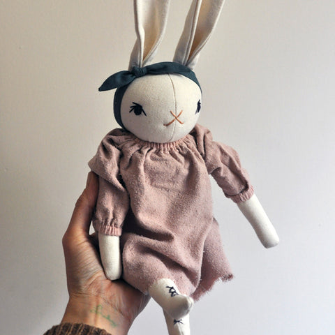 Handmade Cotton Medium Silk Dress Rabbit - Cream/Rose