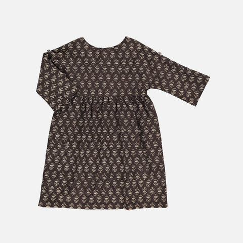 Organic Cotton Agatha Dress - Black Flower - 2-10y
