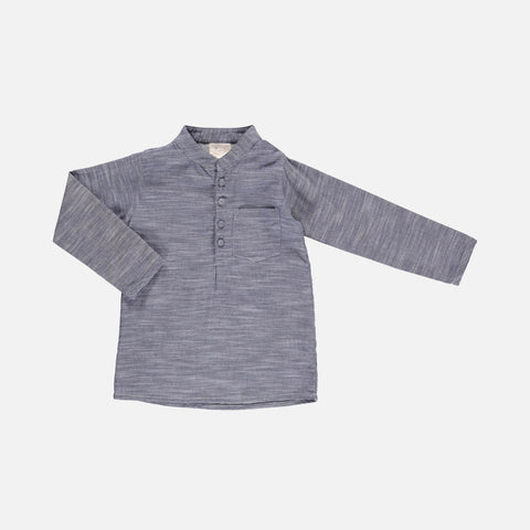 Organic Cotton Joachim Shirt - Grey Ikat - 2-10y