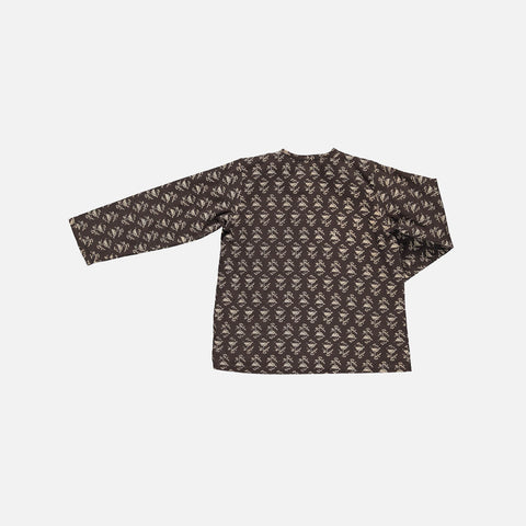 Organic Cotton Liam Shirt - Black Flower - 2-10y