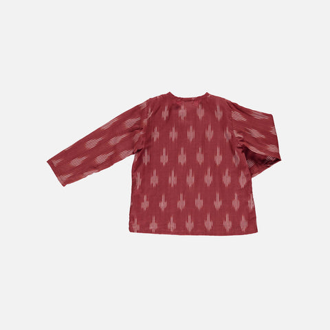 Organic Cotton Liam Shirt - Terracotta Ikat - 2-10y