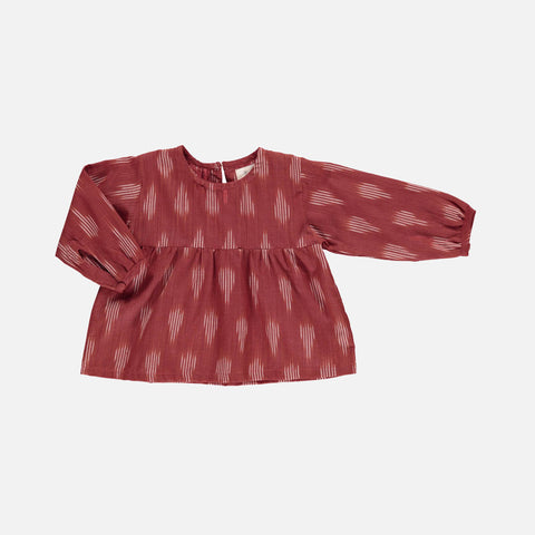 Organic Cotton Serafine Baby Dress - Terracotta Ikat - 3-18m