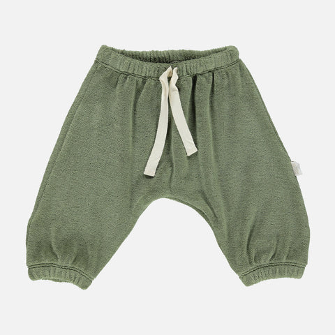 Organic Cotton Terry Cannelle Baggy Pants - Oil Green - 6m-4y