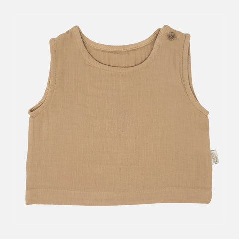 Organic Cotton Ceylan Sleeveless Top - Indian Tan - 3m-10y
