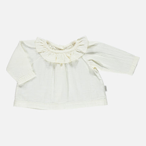Organic Cotton Round Collar Blouse - Lait - 3m-8y