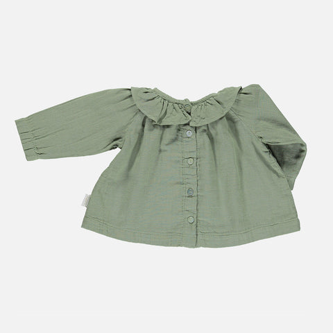 Organic Cotton Round Collar Blouse - Oil Green - 3m-8y
