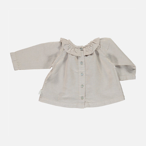 Linen/Organic Cotton Round Collar Blouse - Natural - 3m-8y