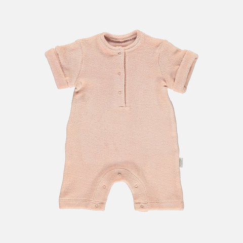 Organic Cotton Terry Short Romper - Evening Sand - 1-24m