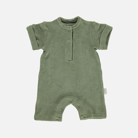 Organic Cotton Terry Short Romper - Oil Green - 1-24m