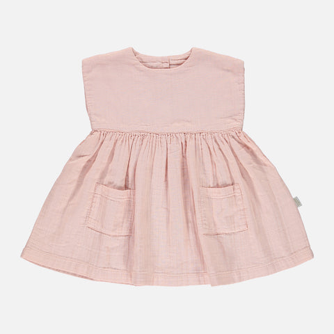Organic Cotton Hibiscus Sleeveless Dress - Evening Sand - 24m-8y