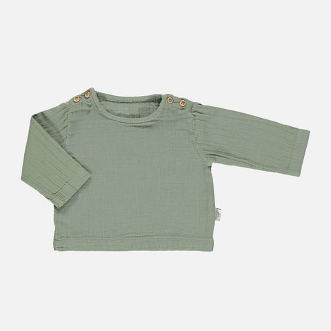 Organic Cotton Houblon Long Sleeve Blouse - Oil Green - 12m-8y