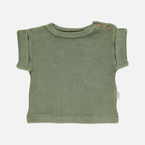 Organic Cotton Terry Laurier Tee - Oil Green - 12m-8y