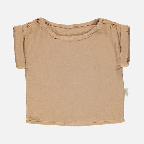 Organic Cotton Lin SS Blouse - Indian Tan - 3m-8y