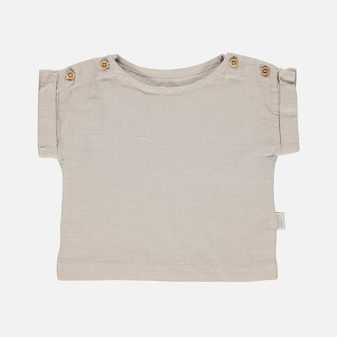 Linen/Organic Cotton Lin SS Blouse - Naturel - 9m-8y