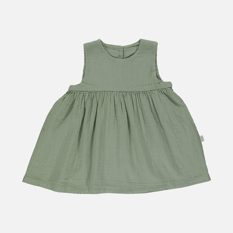 Organic Cotton Matcha Sleeveless Dress - Oil Green - 24m-8y