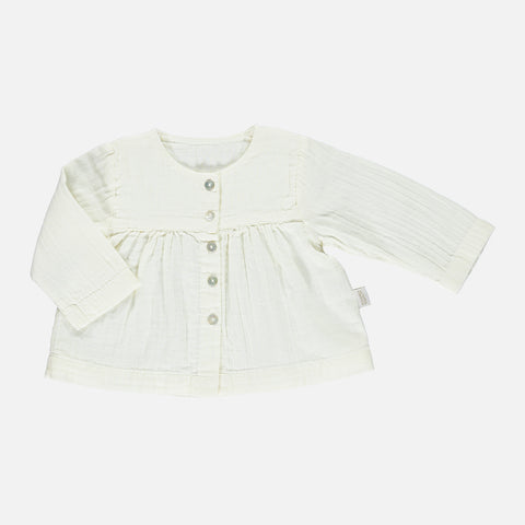 Organic Cotton Romarin Long Sleeve Blouse - Lait - 3m-8y