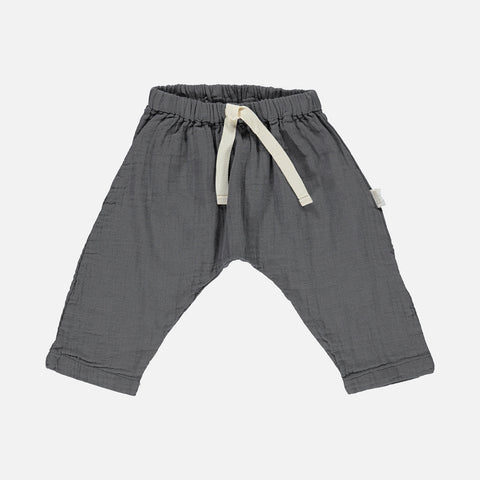 Organic Cotton Baggy Pants - Iron Gate - 3m-8y