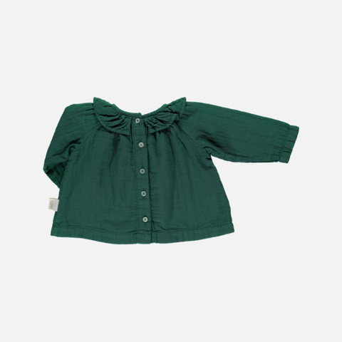 Organic Cotton Round Collar Blouse - Bistro Green - 1m-10y