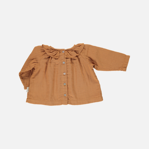 Organic Cotton Round Collar Blouse - Cashew - 1-9m