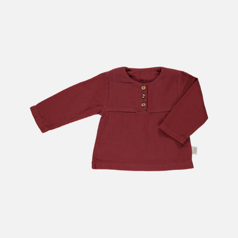 Organic Cotton Button Blouse - Syrah - 6m-10y