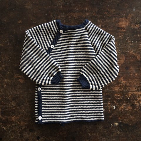 100% Organic Knitted Merino Cardigan - Navy/Natural Stripe