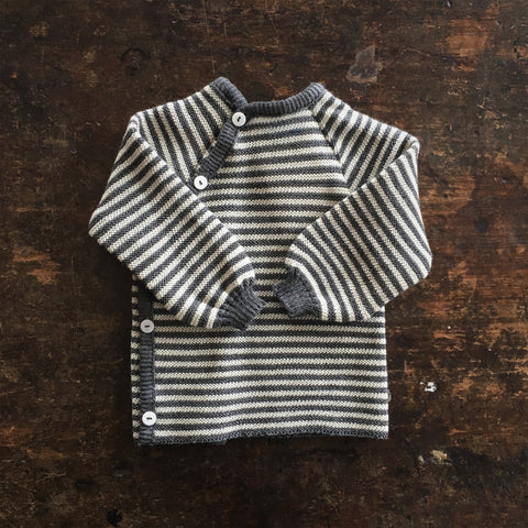 100% Organic Knitted Merino Cardigan -Slate/Natural Stripe