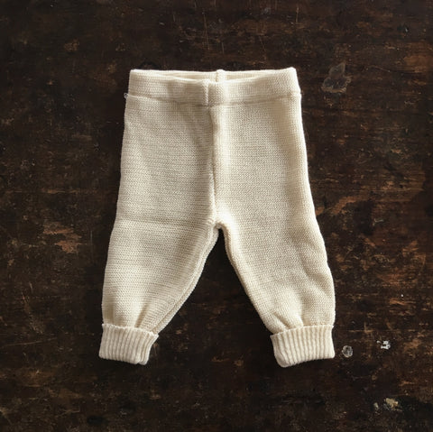 100% Organic Knitted Merino Baby Pants - Natural