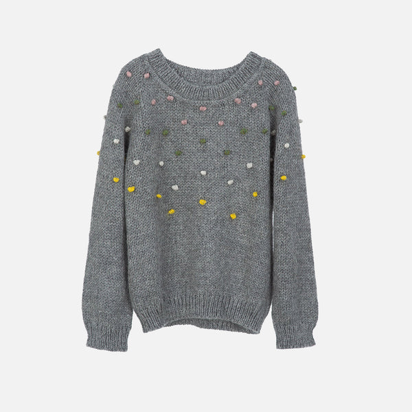 Llama Dot Sweater - Grey - 2-11y