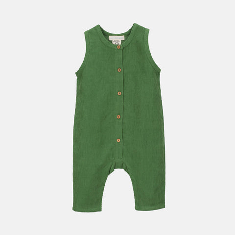 Organic Cotton Corduroy Baby Overall - Grass Green - 3m-2y