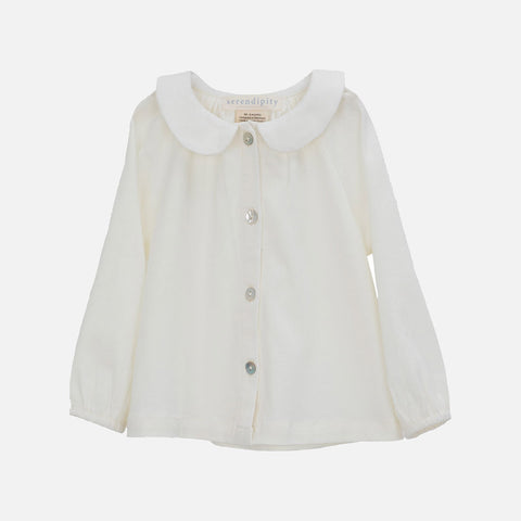 Organic Cotton Jersey Blouse - Natural - 3m-2y