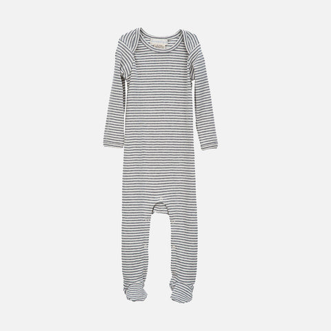 Organic Cotton Baby Romper with Feet - Grey/Offwhite - 3m-2y