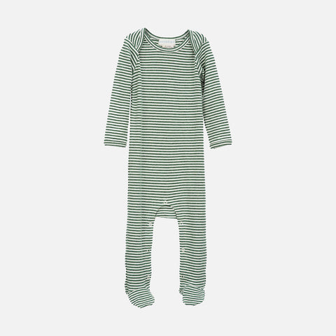 Organic Cotton Baby Romper with Feet - Green/Offwhite - 3m-2y