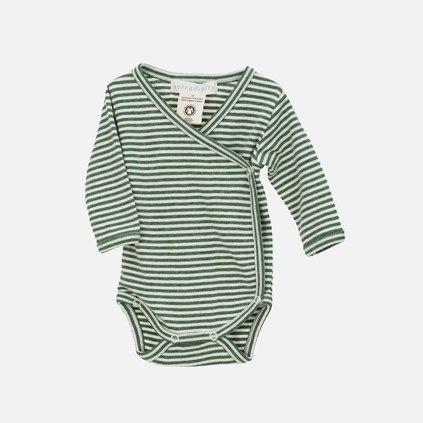 Organic Cotton Baby Wrap Body - Green/Offwhite - 0-3m